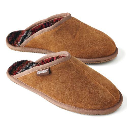 MUK LUKS Leather Suede Berber Fleece Scuff Slippers - Men