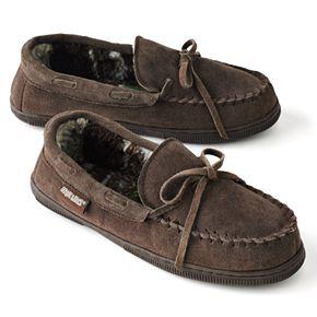 MUK LUKS Men's Leather Berber Fleece Moccasin Slippers