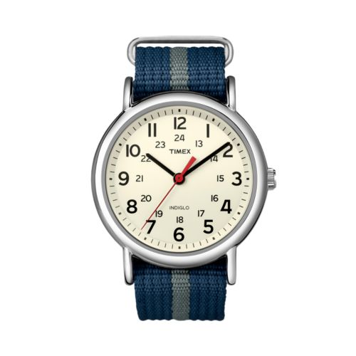 Timex Weekender Silver Tone Striped Watch - T2N654KY