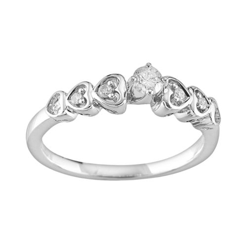 Sterling Silver 1/5-ct. T.W. Round-Cut Diamond Heart Ring
