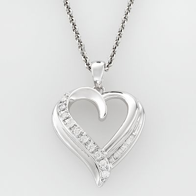 Sterling Silver 1/5-ct. T.W. Diamond Heart Pendant