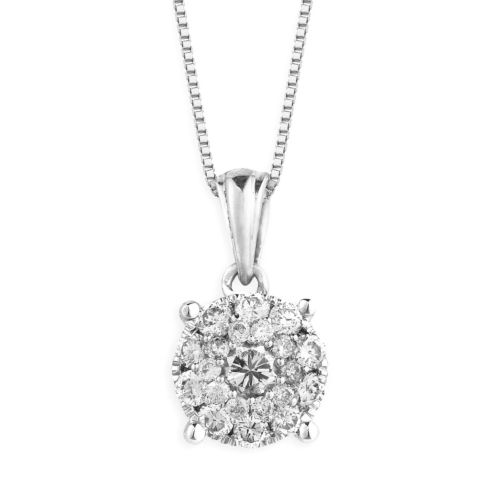 Sterling Silver 3/8-ct. T.W. Diamond Cluster Pendant