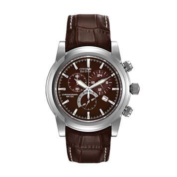 Citizen Eco-Drive Stainless Steel Chronograph Leather Watch - AT0550-11X - Men