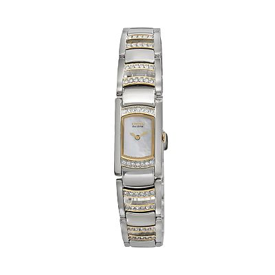Citizen Eco-Drive Silhouette Stainless Steel Two Tone Crystal & Mother-of-Pearl Watch - EG2734-56D - Women