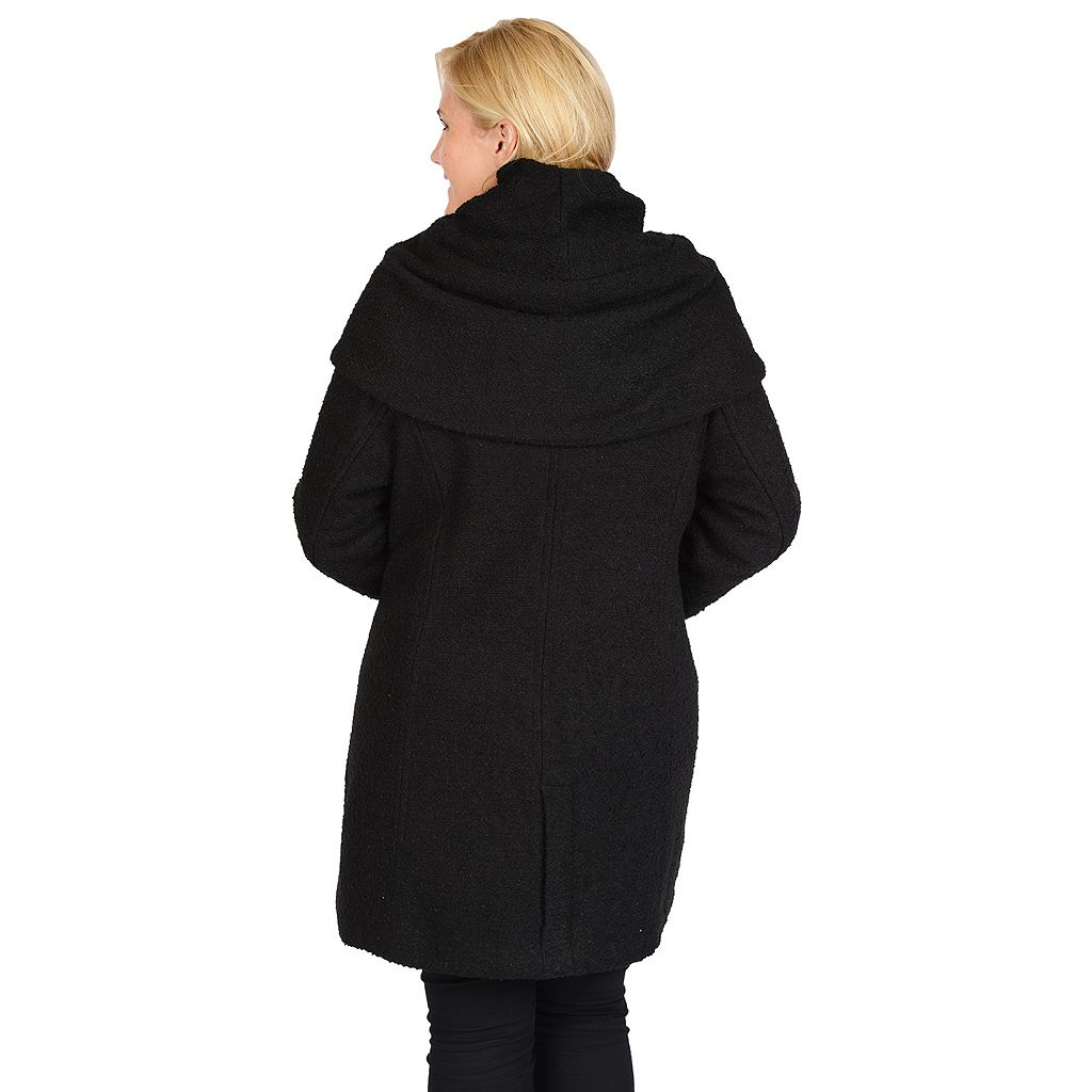 Plus Size Excelled Hooded Boucle Jacket