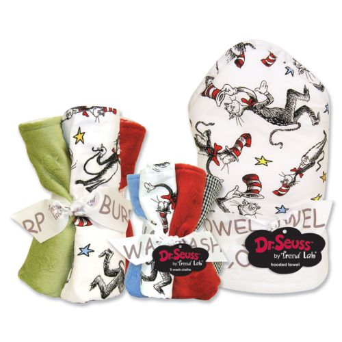 Dr. Seuss The Cat in the Hat 10-pc. Hooded Towel, Washcloth and Burp Cloth Set by Trend Lab