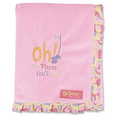 Dr. Seuss 'Oh The Places You'll Go!' Ruffled Velour Receiving Blanket by Trend Lab - Pink