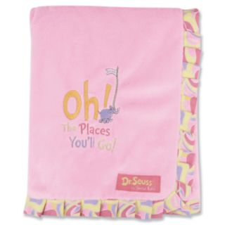 Dr. Seuss Oh The Places You'll Go Ruffled Velour Receiving Blanket by Trend Lab - Pink