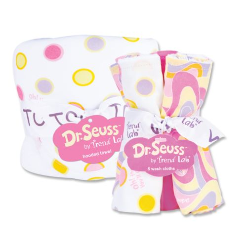 Dr. Seuss Oh the Places You'll Go 6-pc. Hooded Towel and Washcloth Bouquet Set by Trend Lab - Pink