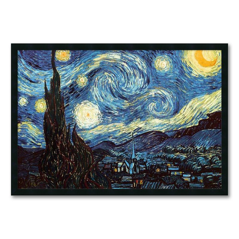 Starry Night Framed Art Print by Vincent van Gogh, Multicolor