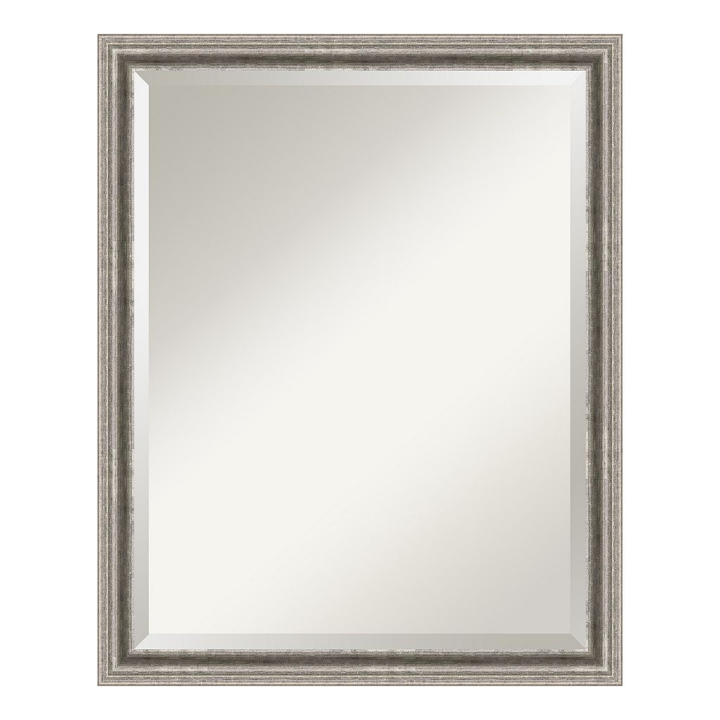 Amanti Art Bel Volto Silver Finish Modern Wood Wall Mirror