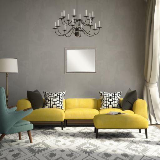 Amanti Art Bel Volto Silver Finish Modern Wood Wall Mirror
