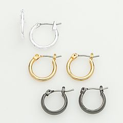 Tri-Tone Hoop Earring Set