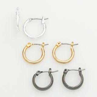 Tri-Tone Hoop Earring Set