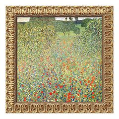 'Field of Poppies (Campo di Papaveri)' Framed Canvas Art by Gustav Klimt