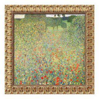 Field of Poppies (Campo di Papaveri) Framed Canvas Art by Gustav Klimt