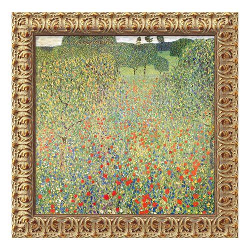 """Field of Poppies (Campo di Papaveri)"" Framed Canvas Art by Gustav Klimt"