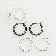 Two Tone Hoop Earring Set