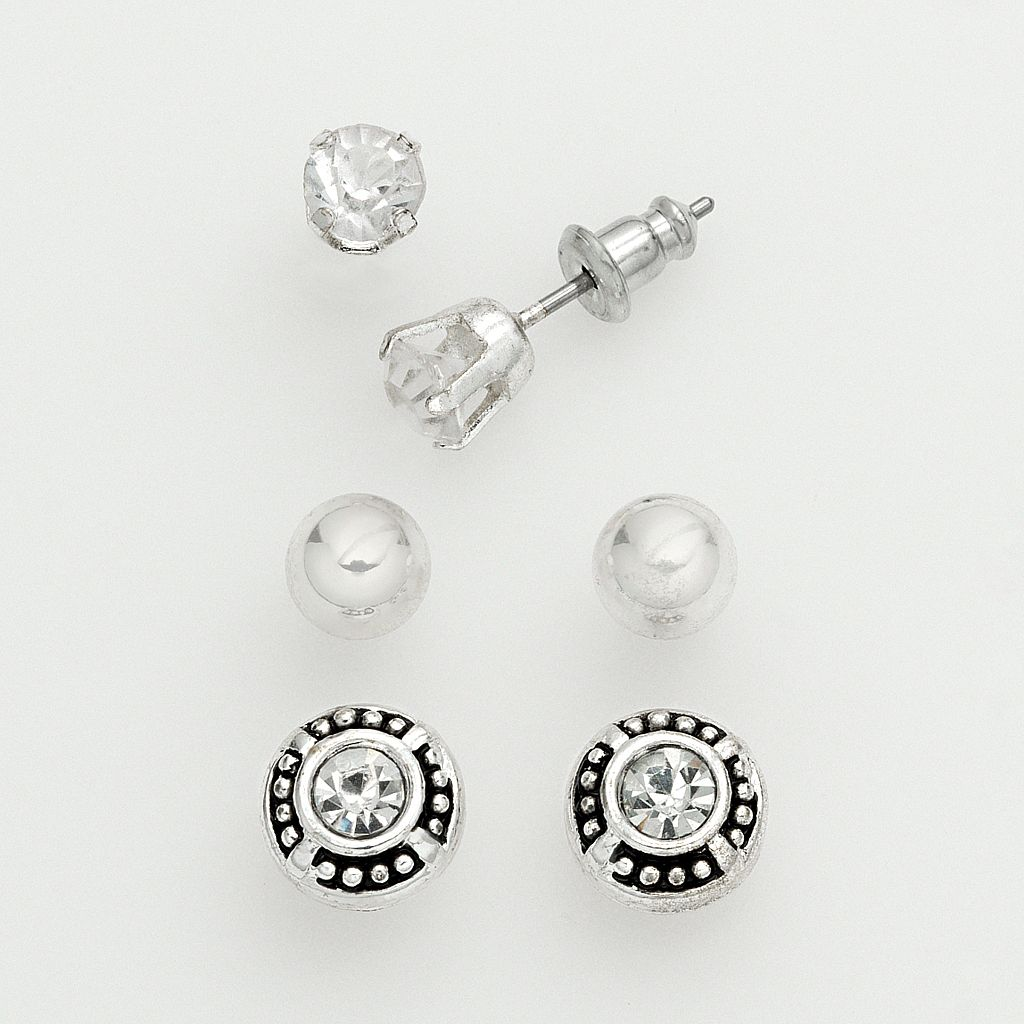 Silver Tone Cubic Zirconia & Ball Stud Earring Set