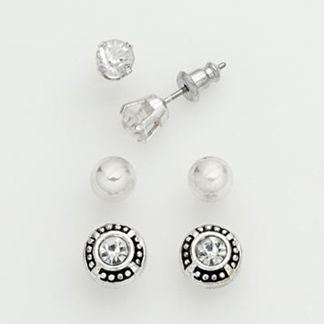 Silver Tone Cubic Zirconia & Ball Stud Earring Set