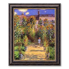 'The Artist's Garden at Vetheuil, 1880' Framed Canvas Art by Claude Monet