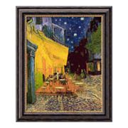Cafe Terrace at Night Framed Canvas Art by Vincent van Gogh