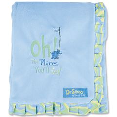 Dr. Seuss 'Oh The Places You'll Go!' Velour Receiving Blanket by Trend Lab - Blue