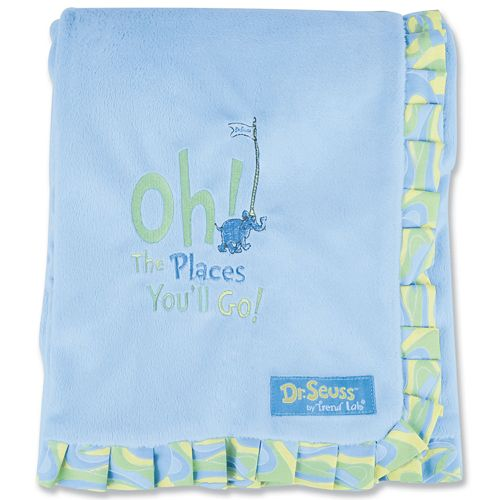 "Dr. Seuss ""Oh The Places You'll Go!"" Velour Receiving Blanket by Trend Lab - Blue"