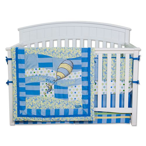"Dr. Seuss ""Oh The Places You'll Go!"" 4-pc. Crib Bedding Set by Trend Lab - Blue"