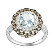 14k White Gold Aquamarine, White Sapphire and Smoky Quartz Oval Frame Ring