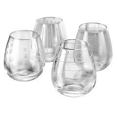 Mikasa Cheers 4 pc Stemless Wine Glass Set