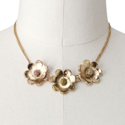 LC Lauren Conrad Gold Tone Simulated Crystal Flower Swag Necklace