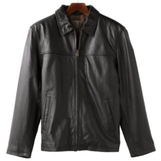 Men's R and O Open-Bottom Leather Bomber Jacket