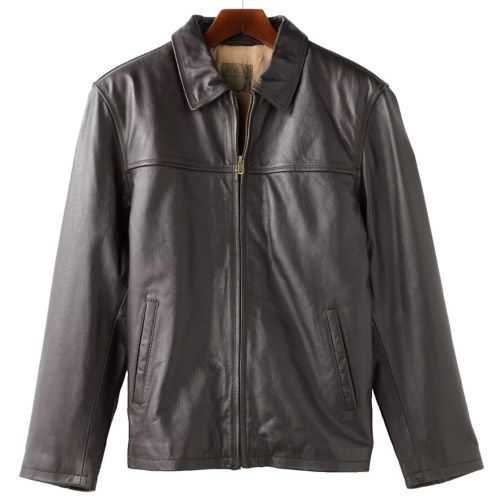 Men S R And O Open Bottom Leather Bomber Jacket