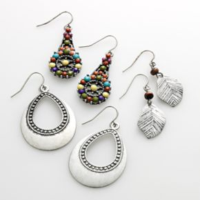 Mudd® Silver Tone Leaf Drop and Teardrop Earring Set