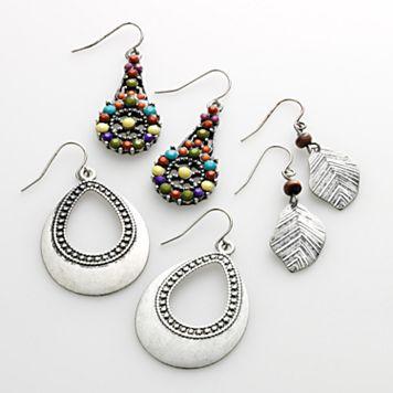 Mudd® Silver Tone Leaf Drop & Teardrop Earring Set