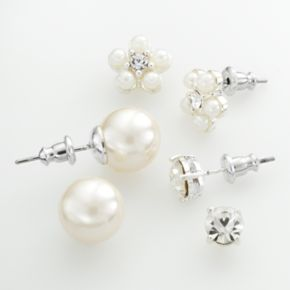 Silver Tone Simulated Pearl and Simulated Crystal Flower Stud Earring Set