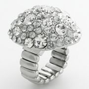 Dana Buchman Silver Tone Simulated Crystal Dome Stretch Ring