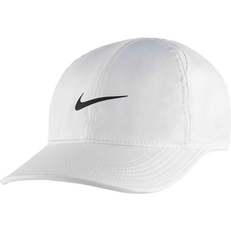 Nike Featherlight Baseball Cap, White Embroidered Nike Swoosh adds sporty style. Adjustable closure ensures a customized fit. Details: One size fits most Adjustable back strap Polyester Hand wash Imported Size: Onesize. Color: White. Gender: Male. Pattern: Solid.