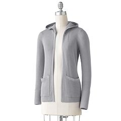 Petite SONOMA Goods for Life™ Open-Front Hooded Thermal Cardigan
