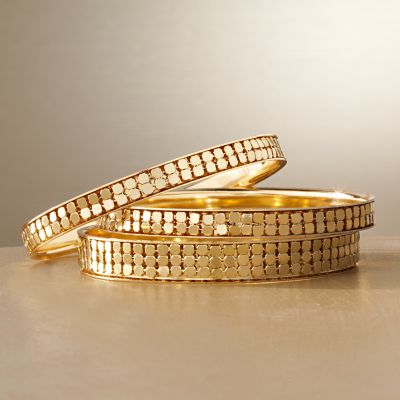 Jennifer Lopez Gold Tone Mesh Bangle Bracelet Set