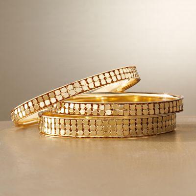 Jennifer Lopez Gold Tone Mesh Bangle Bracelet Set