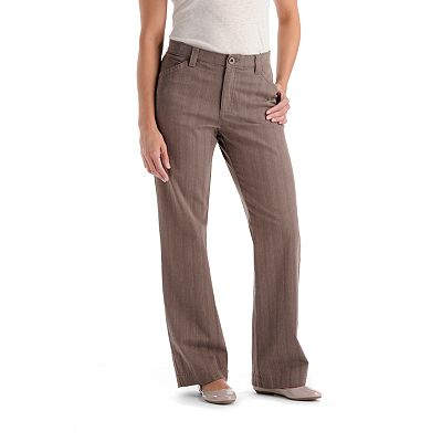 Lee Comfort Waist Striped Twill Straight-Leg Pants
