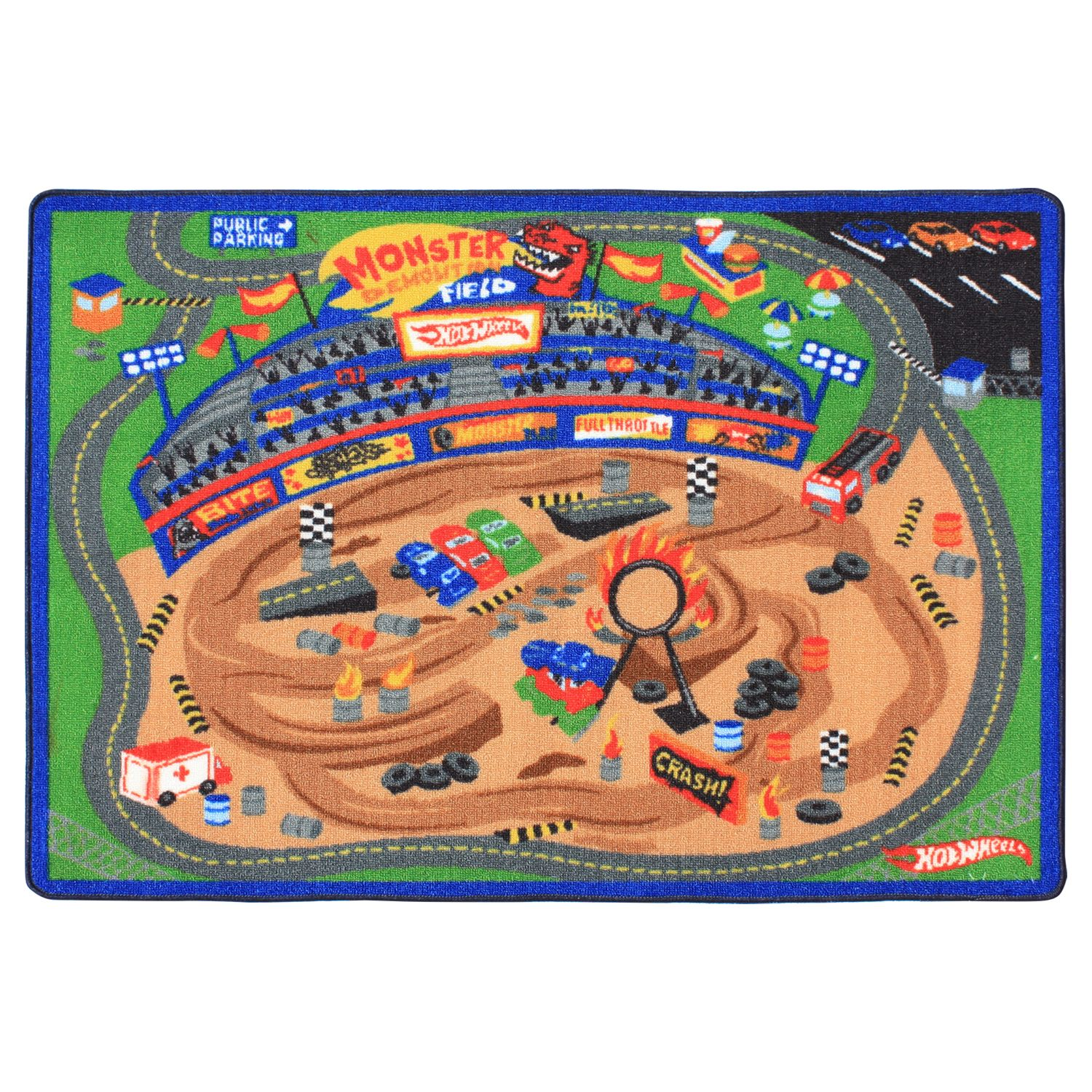 This Disney/Pixar Cars Racetrack Game Rug includes 2 toy cars and 2 road  signs.