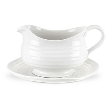 Portmeirion Sophie Conran White Gravy Boat & Stand
