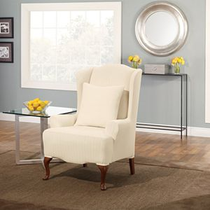Superb Sure Fit Stretch Suede Wing Chair Slipcover Machost Co Dining Chair Design Ideas Machostcouk