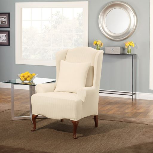 Sure Fit Stretch Pin-Striped Wing Chair Slipcover