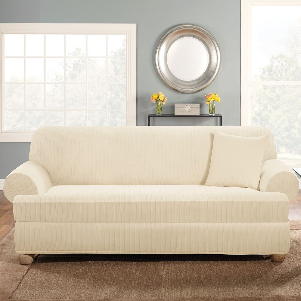 Sure Fit Stretch Pin-Striped 2-pc. T-Cushion Sofa Slipcover