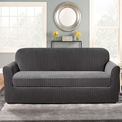 Sure Fit Stretch Pin-Striped 2-pc. Loveseat Slipcover