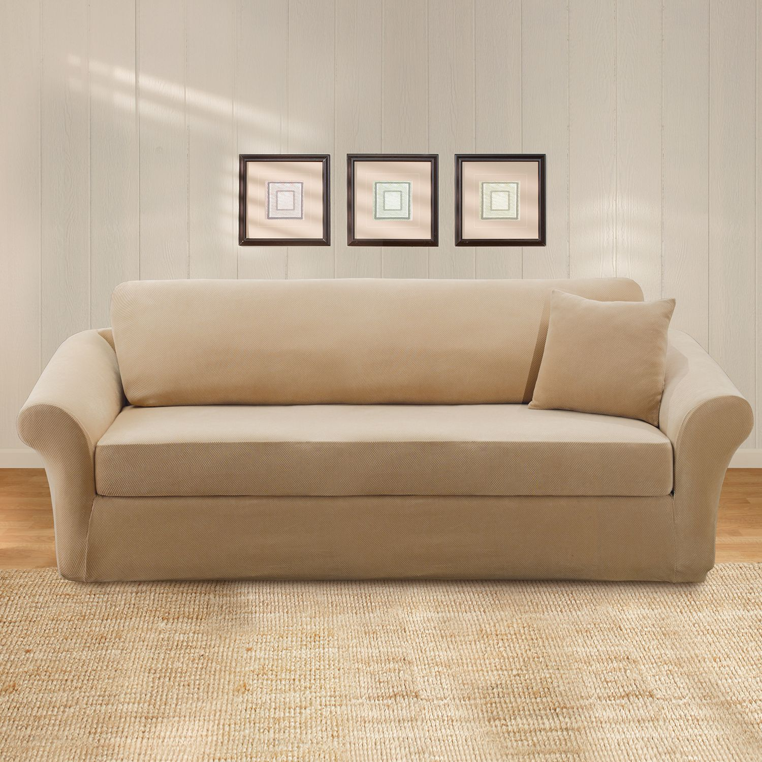 sure fit stretch pique 3 pc sofa slipcover rh kohls com sure fit stretch pique 3-pc. sofa slipcover sure fit 3 piece t cushion sofa slipcover